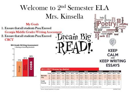 Welcome to 2 nd Semester ELA Mrs. Kinsella My Goals 1. Ensure that all students Pass/Exceed Georgia Middle Grades Writing Assessment 2. Ensure that all.