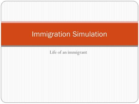Life of an immigrant Immigration Simulation. What are the countries of origin? Early ImmigrationLate 19 th English German Dutch French China Japan Italy.
