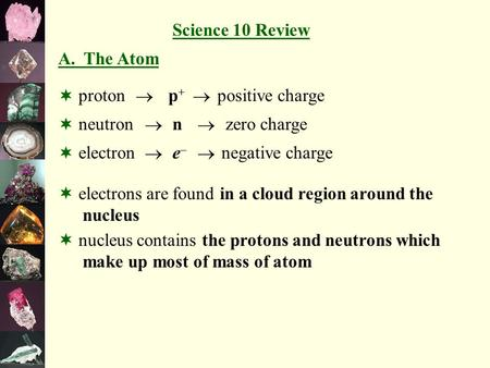 A. The Atom    proton neutron electron p+p+ n e–e– zero charge positive charge negative charge  electrons are found in a cloud region around the nucleus.