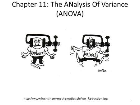 Chapter 11: The ANalysis Of Variance (ANOVA)  1.