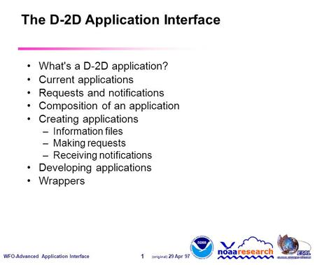 WFO-Advanced Application Interface (original) 29 Apr 97 1 The D-2D Application Interface What's a D-2D application? Current applications Requests and notifications.