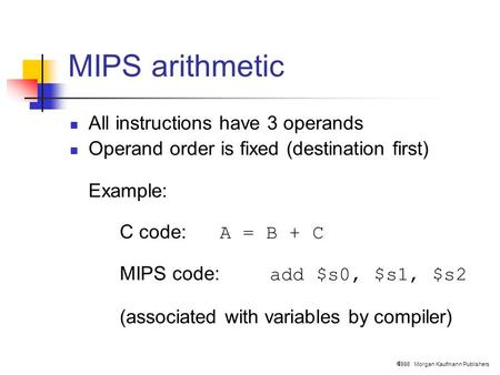  1998 Morgan Kaufmann Publishers MIPS arithmetic All instructions have 3 operands Operand order is fixed (destination first) Example: C code: A = B +