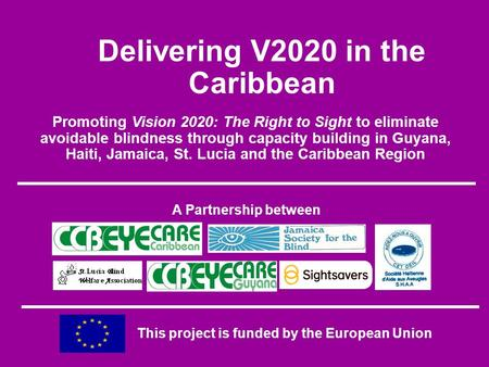 Promoting Vision 2020: The Right to Sight to eliminate avoidable blindness through capacity building in Guyana, Haiti, Jamaica, St. Lucia and the Caribbean.
