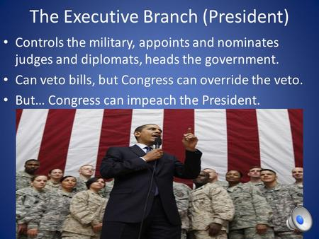 The Executive Branch (President) Controls the military, appoints and nominates judges and diplomats, heads the government. Can veto bills, but Congress.