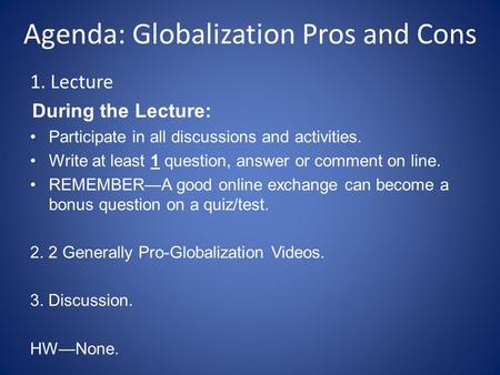 pro and cons of globalization essay