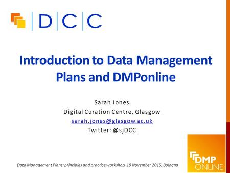 Introduction to Data Management Plans and DMPonline