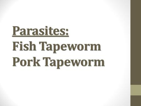 Parasites: Fish Tapeworm Pork Tapeworm. Fish Tapeworm Scientific name is: Diphyllobothrium latum (just write D. latum, no one in science writes that whole.