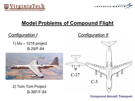 Compound Aircraft Transport 1) Mx – 1018 project B-29/F-84 2) Tom-Tom Project B-36F/F-84 Model Problems of Compound Flight Configuration IConfiguration.