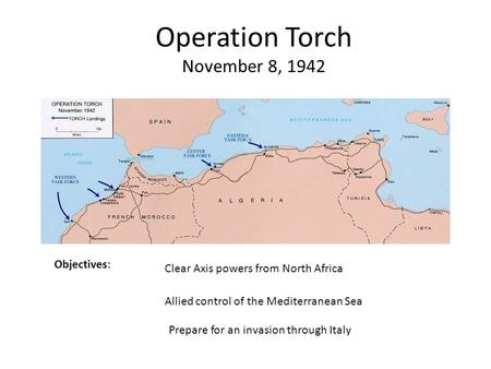 Operation Torch November 8, 1942 Objectives: Clear Axis powers from North Africa Allied control of the Mediterranean Sea Prepare for an invasion through.