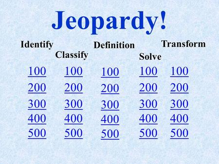 Jeopardy! 100 200 100 200 300 400 500 Identify Classify Definition Solve Transform.