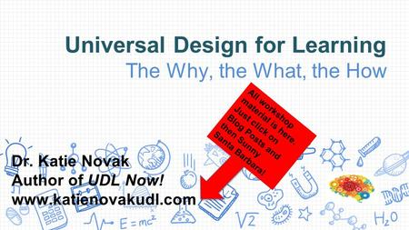 Universal Design for Learning The Why, the What, the How Dr. Katie Novak Author of UDL Now! www.katienovakudl.com All workshop material is here. Just click.