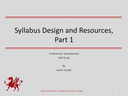 Syllabus Design and Resources, Part 1