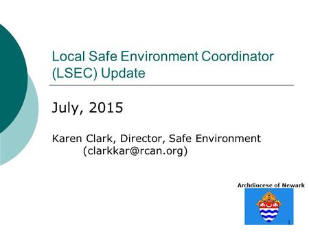Archdiocese of Newark 1 Local Safe Environment Coordinator (LSEC) Update July, 2015 Karen Clark, Director, Safe Environment