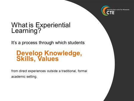 What is Experiential Learning? It's a process through which students Develop Knowledge, Skills, Values from direct experiences outside a traditional, formal.
