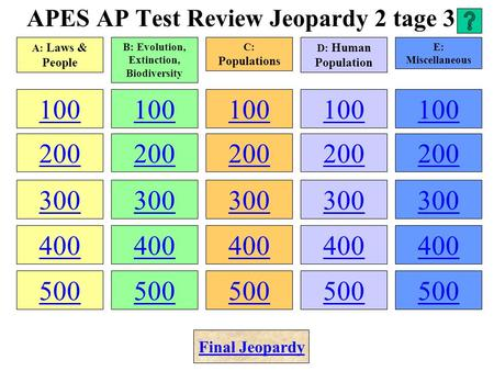 APES AP Test Review Jeopardy 2 tage 3 100 200 300 400 500 100 200 300 400 500 100 200 300 400 500 100 200 300 400 500 100 200 300 400 500 A: Laws & People.