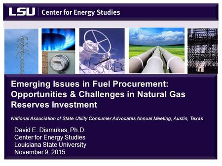 David E. Dismukes, Ph.D. Center for Energy Studies Louisiana State University November 9, 2015 Emerging Issues in Fuel Procurement: Opportunities & Challenges.