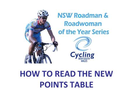 HOW TO READ THE NEW POINTS TABLE. YOUR POINTS TABLE SHOULD LOOK LIKE THIS… RIDER'S SURNAMES RIDER'S FIRST NAMES RIDER'S CLUB SERIES EVENTS (In chronological.
