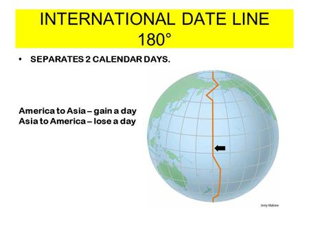 INTERNATIONAL DATE LINE 180° SEPARATES 2 CALENDAR DAYS. America to Asia – gain a day Asia to America – lose a day.