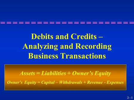2 - 1 Debits and Credits – Analyzing and Recording Business Transactions Assets = Liabilities + Owner's Equity Owner's Equity = Capital – Withdrawals +