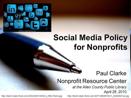 Paul Clarke Nonprofit Resource Center at the Allen County Public Library April 28, 2010  Social.
