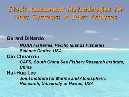 Stock Assessment Methodologies for Reef Systems: A Joint Analyses