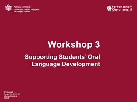 Workshop 3 Supporting Students' Oral Language Development Workshop 3 Supporting Student's Literacy learning Slide1.