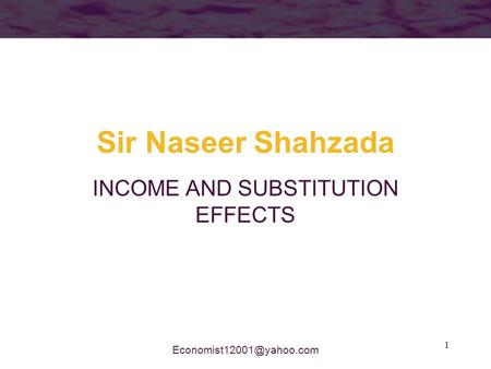 1 Sir Naseer Shahzada INCOME AND SUBSTITUTION EFFECTS