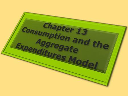 1. DETERMINING THE LEVEL OF CONSUMPTION Learning Objectives 1.Explain and graph the consumption function and the saving function, explain what the slopes.