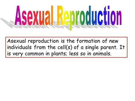 Asexual reproduction is the formation of new individuals from the cell(s) of a single parent. It is very common in plants; less so in animals.