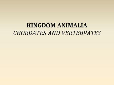 KINGDOM ANIMALIA CHORDATES AND VERTEBRATES. LEVELS OF ORGANIZATION Domain Kingdom Phylum Class Order Family Genus Species.