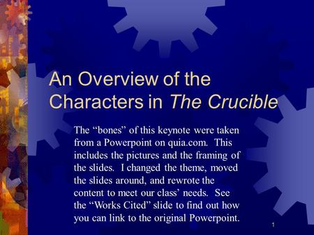 An Overview of the Characters in The Crucible