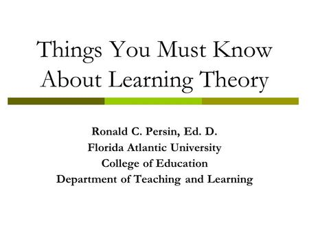 Things You Must Know About Learning Theory