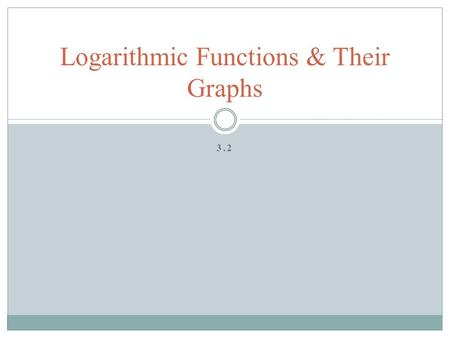 Logarithmic Functions & Their Graphs