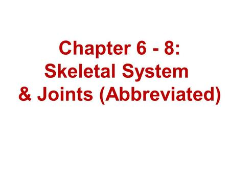 Chapter 6 - 8: Skeletal System & Joints (Abbreviated)