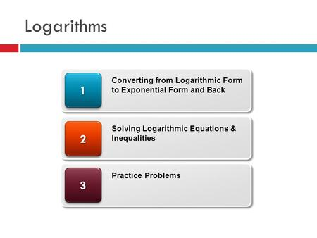 Logarithms 33 22 11 Converting from Logarithmic Form to Exponential Form and Back Solving Logarithmic Equations & Inequalities Practice Problems.