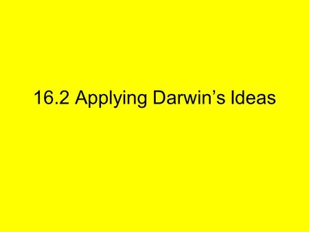 16.2 Applying Darwin's Ideas