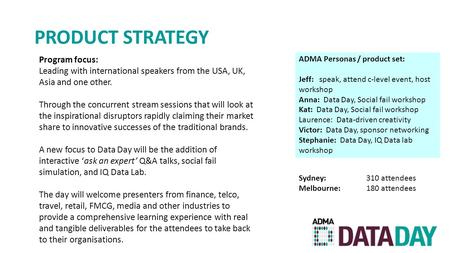 PRODUCT STRATEGY ADMA Personas / product set: Jeff: speak, attend c-level event, host workshop Anna: Data Day, Social fail workshop Kat: Data Day, Social.