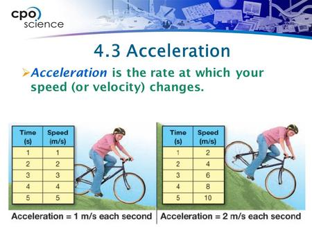 4.3 Acceleration  Acceleration is the rate at which your speed (or velocity) changes.