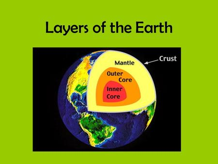 Layers of the Earth. Layers of Earth The Earth is divided into four main layers. *Inner Core *Outer Core *Mantle *Crust.