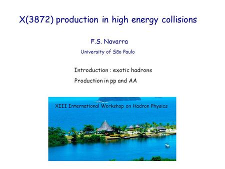 X(3872) production in high energy collisions University of São Paulo F.S. Navarra Introduction : exotic hadrons Production in pp and AA XIII International.