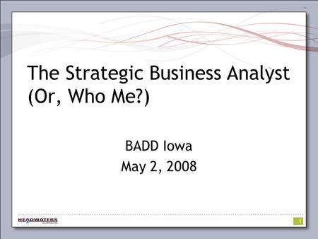 1 The Strategic Business Analyst (Or, Who Me?) BADD Iowa May 2, 2008.