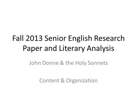 literary analysis research paper powerpoint