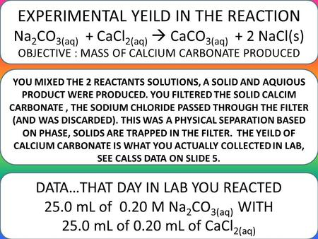 EXPERIMENTAL YEILD IN THE REACTION Na 2 CO 3(aq) + CaCl 2(aq)  CaCO 3(aq) + 2 NaCl(s) OBJECTIVE : MASS OF CALCIUM CARBONATE PRODUCED DATA…THAT DAY IN.