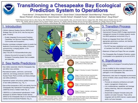 Transitioning a Chesapeake Bay Ecological Prediction System to Operations 1. Introduction NOAA's National Weather Service (NWS) Draft Strategic Plan (22.
