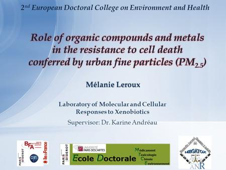 Mélanie Leroux Laboratory of Molecular and Cellular Responses to Xenobiotics Supervisor: Dr. Karine Andréau 2 nd European Doctoral College on Environment.