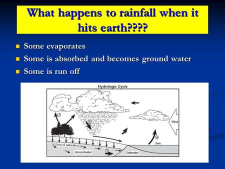 What happens to rainfall when it hits earth???? Some evaporates Some evaporates Some is absorbed and becomes ground water Some is absorbed and becomes.