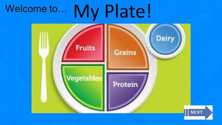 Welcome to… My Plate!. Home Chart My Food Learn About My Plate Take The Quiz Learn about Serving Sizes 1. 2. 3. 4. Play me!