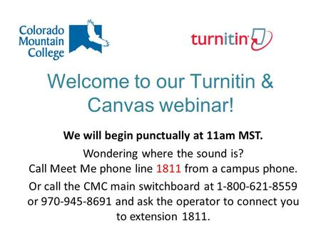 Welcome to our Turnitin & Canvas webinar! We will begin punctually at 11am MST. Wondering where the sound is? Call Meet Me phone line 1811 from a campus.