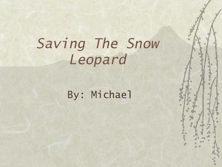 Saving The Snow Leopard By: Michael Snow Leopards Need to be Saved!  Snow Leopards need our help to be saved. Everyone can try their best to help prevent.
