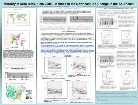 Mercury at MDN sites, 1998-2005: Declines in the Northeast, No Change in the Southeast Tom Butler *1,2, Gene Likens 1, Mark Cohen 3, Francoise Vermeylen.